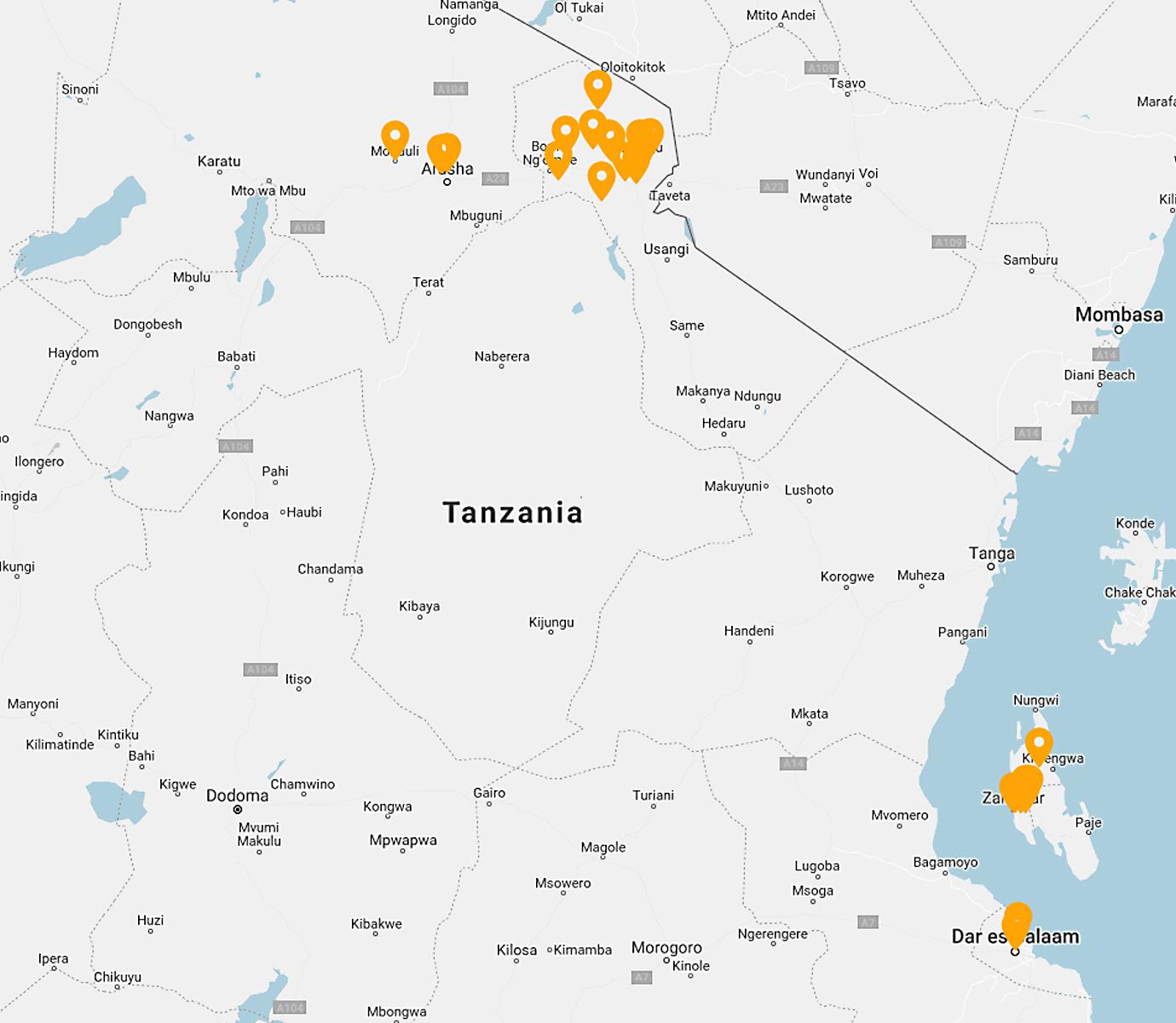 A Map of Quest Forward Schools in Tanzania